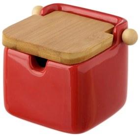 Červená kameninová dóza na soľ s bambusovým viečkom Unimasa, 250 ml