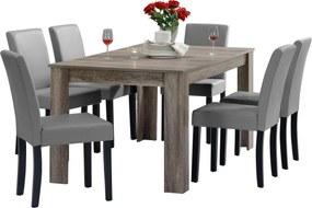 [en.casa]® Rustikálny dubový jedálenský stôl HTFU-2337 so 6 stoličkami HTMY-9701