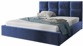 Hector Čalouněná postel Brayden 140x200 dvoulůžko - námořnická modř