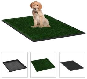 vidaXL Domáca toaleta pre psy s podnosom a umelou trávou zelená 64x51x3 cm