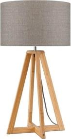 Stolová lampa s béžovým tienidlom a konštrukciou z bambusu Good&Mojo Everest