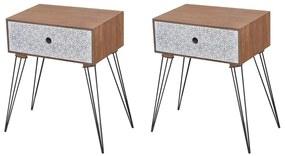vidaXL Nočné stolíky so zásuvkou 2 ks hnedé