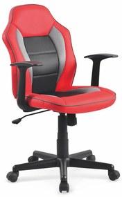 HALMAR Nemo detská stolička na kolieskach s podrúčkami červená / čierna / sivá