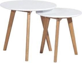 Sada 2 konferenčných stolíkov, biela/buk, MALTO NEW