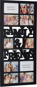 Fotorám Family and Friends na 10 fotiek, čierny, 75x35cm