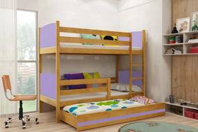 BMS Group Poschodová posteľ s prístelkou TAMI - s úložným priestorom - pre troch - JELŠA