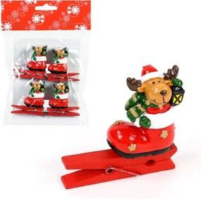 Sada 4 štipcov s vianočným motívom Unimasa Sob
