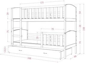 GL Dobby Biela Color MDF poschodová posteľ 190x80 Farba: Zelená
