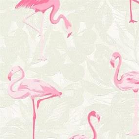 Vliesové tapety na stenu Boys & Girls 35980-1, plameniaky ružové na sivom podklade, rozmer 10,05 m x 0,53 m, Grandeco