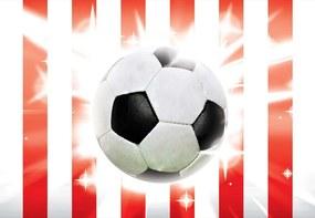 Fototapeta GLIX - Football Red And White Stripes + lepidlo ZADARMO Vliesová tapeta  - 254x184 cm