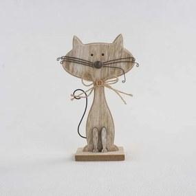 Drevená mačka hnedá 25x17x5cm