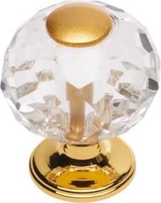 Vista d'Oro komodová knopka Bebek s čírym kryštálom priemer 20mm s poťahom 24k zlata