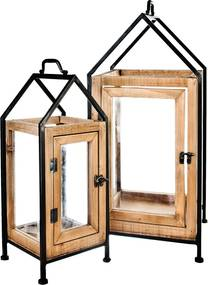lampáš domček drevo kov 20x18x44 cena za 1ks
