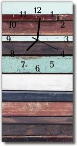 Nástenné hodiny vertikálne  Farebné drevené prúžky