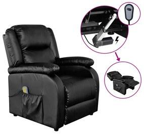vidaXL Elektrické masážne kreslo, čierne, umelá koža
