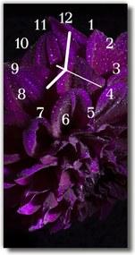 Nástenné hodiny vertikálne  Kvety Pivoňka purpurová rosa
