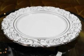 Bielo strieborný klubový tanier 36cm