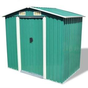 Záhradný domček na náradie zelený kovový 204x132x186 cm