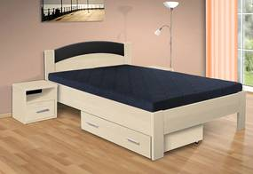 Nabytekmorava Drevená posteľ Jason 200x120 cm farba lamina: buk 381, typ úložného priestoru: bez úložného priestoru, typ matraca: matraca 15 cm