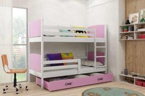 Poschodová posteľ TAMI - 200x90cm - BIELA - RUŽOVÁ