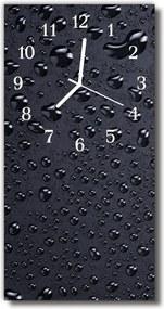 Nástenné hodiny vertikálne  Príroda. Kvapky vodné rosy čierne