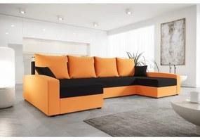 Priestranná sedacia súprava CATALINA U - oranžová / čierna