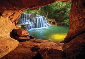 Vliesové fototapety 11978 V8, rozmer 368 cm x 254 cm, pohľad na vodopád z jaskyne, IMPOL TRADE