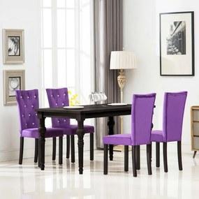vidaXL Jedálenské stoličky 4 ks, fialové, zamat