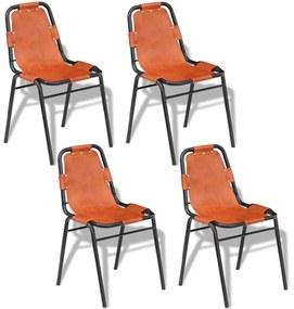 vidaXL Jedálenské stoličky 4 ks, hnedé, pravá koža