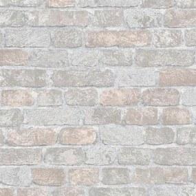 Vliesové tapety na stenu 58410, rozmer 10,05 m x 0,53 m, Brique 3D tehly sivo-hnedé s výraznou štruktúrou, Marburg