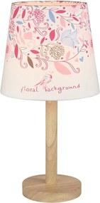 Stolná lampa, drevo/látka, vzor kvety, QENNY TYP 8 LT6026