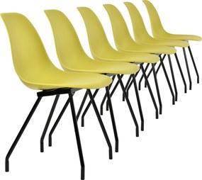 23ba98323e40  en.casa ® Sada dizajnových stoličiek - 6 kusov - muštárovo žlté