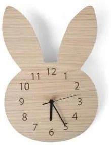 Nástenné hodiny Králik v barve dreva
