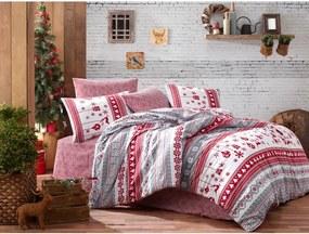 Obliečky s plachtou na jednolôžko z ranforce bavlny Nazenin Home Snow Grey, 140 × 200 cm