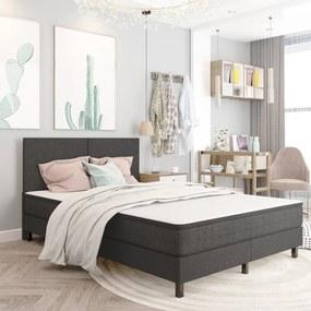 vidaXL Rám na boxspring posteľ, sivý, látka 160x200 cm
