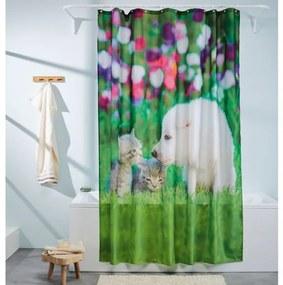 MIOMARE® Sprchový záves, 180 x 200 cm (pes a mačka ) (100313849)