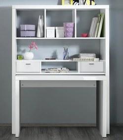 Regál s písacím stolom Shelf & write 3386, lesklý biely
