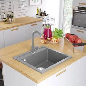 Granitový kuchynský drez s jednou vaničkou, sivý