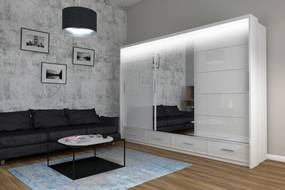 Veľká šatníková skriňa Palermo 250, biela + LED podsvietenie