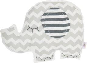 Sivý detský vankúšik s prímesou bavlny Apolena Pillow Toy Elephant, 34 x 24 cm