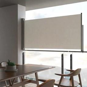 vidaXL Zaťahovacia bočná markíza na terasu krémová 120 x 300 cm