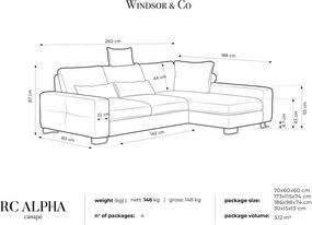 WINDSOR & CO Štvormiestna rohová pohovka Alpha pravý roh