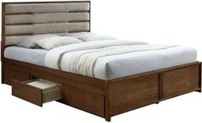 KONDELA Betra 160 manželská posteľ s roštom a úložným priestorom orech / béžová