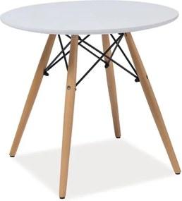 Biely okrúhly stôl s nohami z kaučukového dreva Signal Soho, ⌀ 90 cm