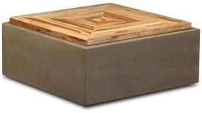 vidaXL Konferenčný stolík recyklované teakové drevo betón 70x70x30 cm