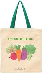 Sass & belle Plátená taška Live Life On The Veggie