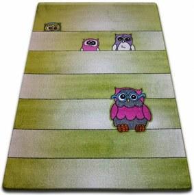 Detský koberec Kids Sovy zelený C412 - 120x170 cm