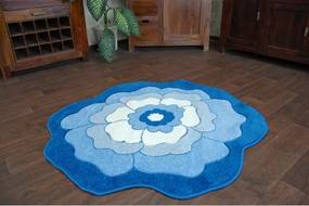 Detský koberec Happy C273 modrý kvietok - 100 cm kruh