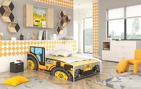 Detská posteľ 140x70 Traktor žltý