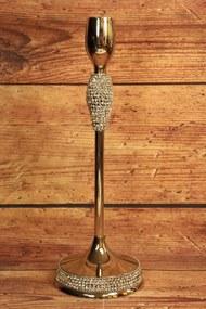 Keramický svietnik s kamienkami (v. 36 cm) - strieborný - moderný štýl